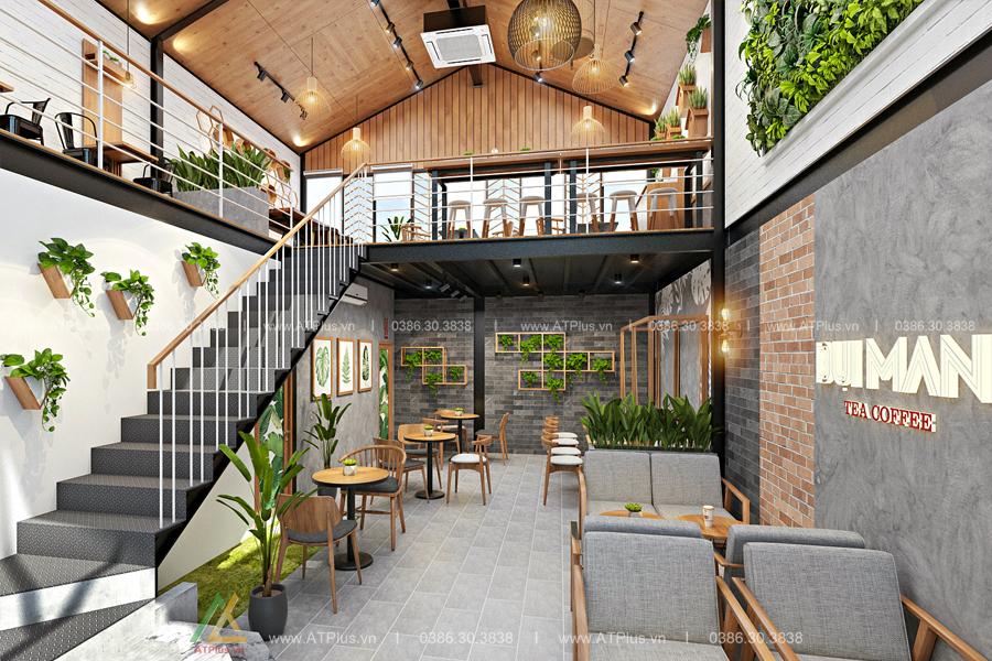trang trí nội thất quán trà sữa hiện đại tại Ninh Bình